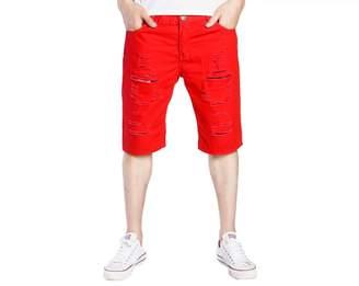 Trunks Elonglin Mens Ripped Denim Shorts Jean Rolled Cuff Shredded Holes Waist