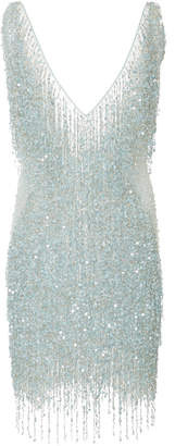 Naeem Khan Beaded Tulle Mini Dress