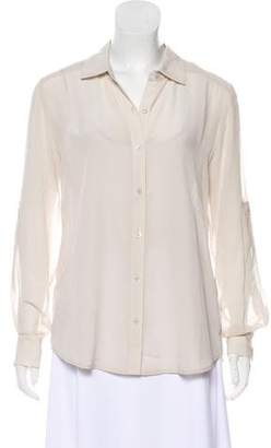 Tommy Bahama Silk Long Sleeve Button-Up Top
