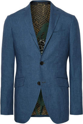 Etro Storm-Blue Linen Suit Jacket