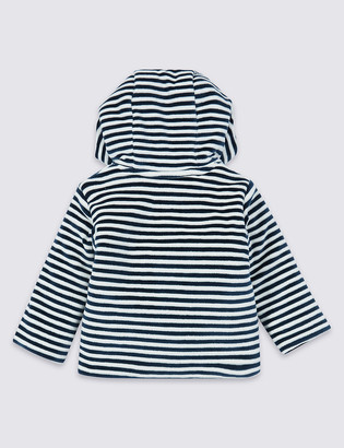 Marks and Spencer Cotton Rich Striped Velour Jacket