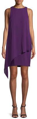 Tahari Asymmetrical Chiffon Overlay Shift Dress