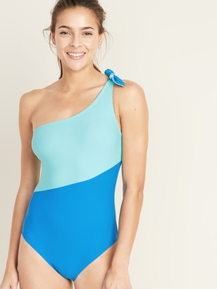 Old Navy Color-Blocked Knotted One-Shoulder Swimsuit for Women