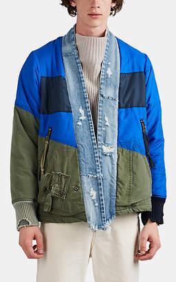 Greg Lauren Men's Puffy Kimono Mixed-Media Jacket - Blue