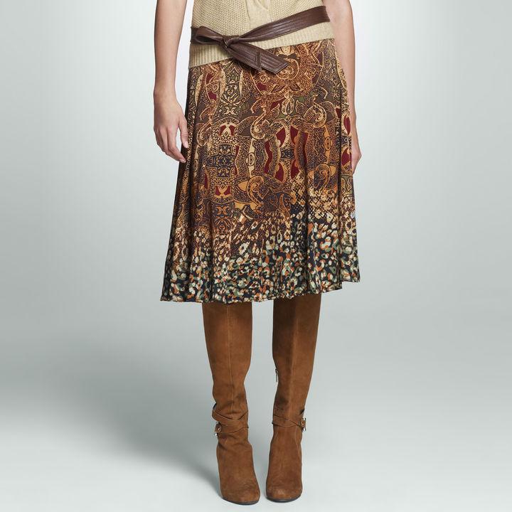 Jones New York Printed Pleated Skirt