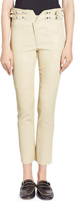 Isabel Marant Preydie Skinny Lamb Leather Pants with Buckles