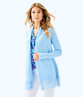 Lilly Pulitzer Womens Tatum Long Fringe Hem Cardigan