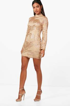 boohoo Boutique Lisa Sequin Print Bodycon Dress