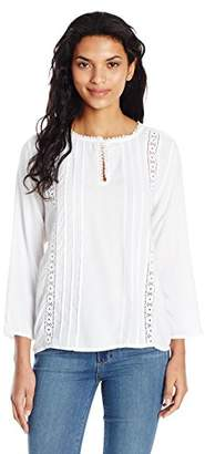 True Grit Dylan by Women's Great Embroidered Long Sleeve Tunic Shirt with Trim