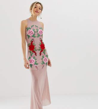 Naanaa Petite NaaNaa Petite Fishtail Maxi Dress With Lace Applique