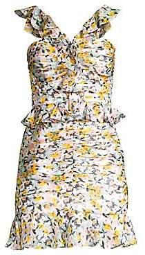 AMUR Women's Elyse Ruffled Silk Mini Dress