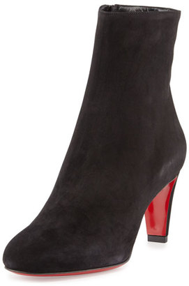 Christian Louboutin Top 70 Suede Red Sole Ankle Boot, Black $995 thestylecure.com