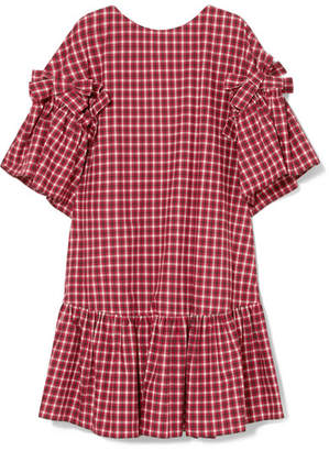 Fendi Bow-detailed Checked Cotton-poplin Mini Dress - Red