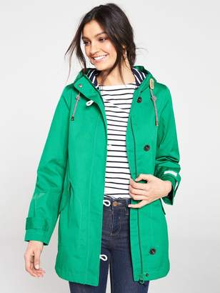 007693631 Joules Coast Mid Length Hooded Waterproof Jacket - Green