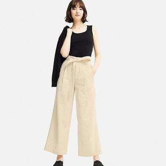 Uniqlo Women's Belted Linen Cotton Wide Pants