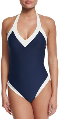 heidi klein Cape Cod Padded V-Neck Halter One-Piece Swimsuit, Navy $295 thestylecure.com