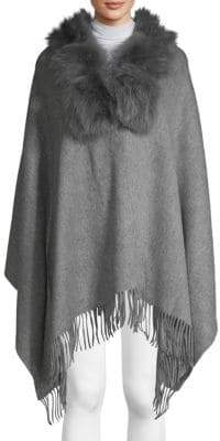 Dyed Fox & Rabbit Fur Collar, Wool & Cashmere Poncho