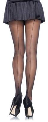 Leg Avenue Women's Plus-Size Plus Cuban Heel Pantyhose, Black/Black, 1X-2X