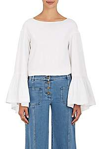 Teija Women's Cotton Bell-Sleeve Blouse - White