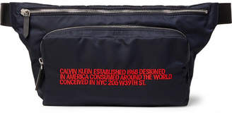Calvin Klein Leather-Trimmed Embroidered Shell Belt Bag