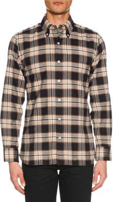 Tom Ford Men's Brushed Tonal Overcheck Shirt
