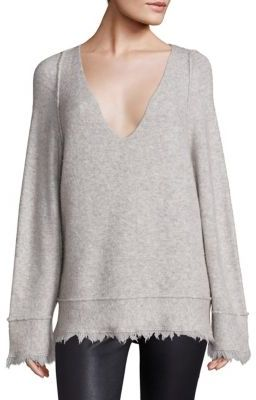 Free People Irresistible V-Neck Frayed Sweater $118 thestylecure.com