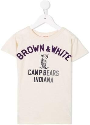 Denim Dungaree Brown and White T-shirt