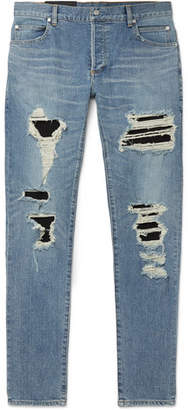 Balmain Skinny-Fit Panelled Distressed Denim Jeans - Men - Light blue
