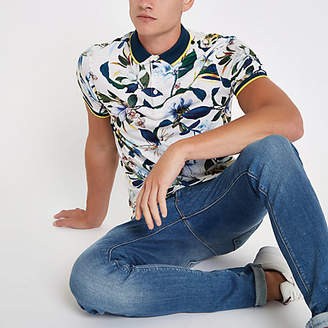 River Island Stone floral print muscle fit polo shirt