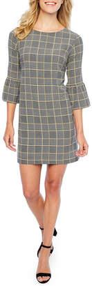 S.O.H.O New York 3/4 Sleeve Plaid Shift Dress