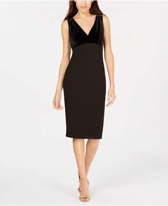 Calvin Klein Velvet & Scuba Crepe Sheath Dress