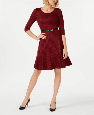 NY Collection Petite Ponte-Knit Belted Plaid Dress