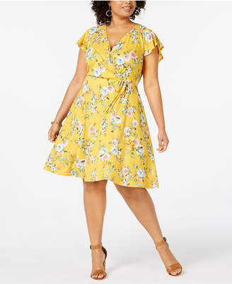 Love Squared Plus Size Floral Wrap Dress