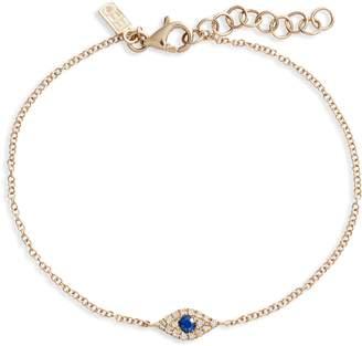 Ef Collection Evil Eye Diamond & Sapphire Line Bracelet