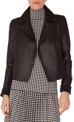 Akris Punto Zip-Front Perforated Leather Biker Jacket
