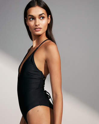 Express Deep V Lace-Up One-Piece Swimsuit