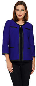 Joan Rivers Classics Collection Joan Rivers Quilted Knit 3/4 Sleeve Jacket withFaux Leather