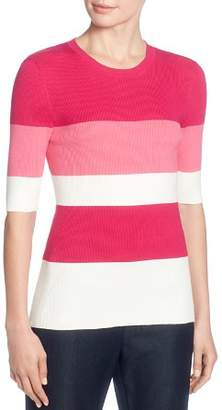 T Tahari Striped Elbow Sleeve Sweater