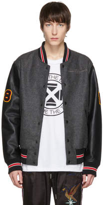 Diesel Grey and Black L-Harry Varsity Jacket