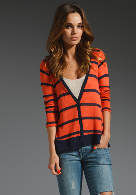 Splendid Harbor Stripe Loose Knit Cardigan