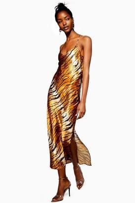 Topshop Womens Tall Tiger Satin Slip Dress