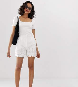 Warehouse broderie hem shorts in white