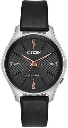 Citizen Eco-Drive Women's Silhouette Black Leather Strap Watch 35mm