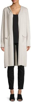 Eileen Fisher Open-Front Cotton Hooded Cardigan