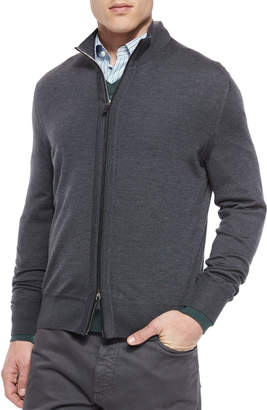 Ermenegildo Zegna High-Collar Zip Cardigan, Charcoal