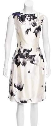 Lela Rose Printed Silk Dress