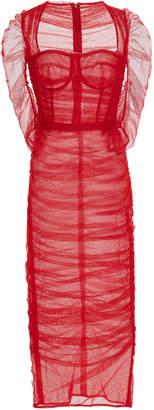Dolce & Gabbana Bustier Ruched Chiffon Midi Dress