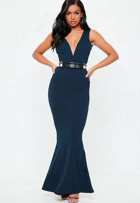 Missguided Blue V Plunge Maxi Dress