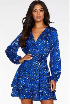 Quiz Blue Satin Animal Print Wrap Dress
