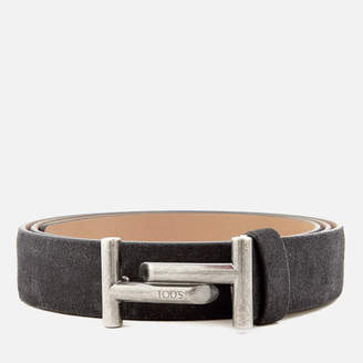 Men's Suede Double T Belt Blue